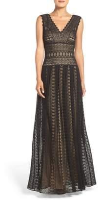 Tadashi Shoji Crochet Lace Fit & Flare Gown