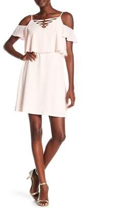 Kensie Flutter Overlay Cold-Shoulder Crepe Dress