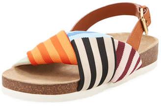 Tory Burch Corey Striped Platform Sandal