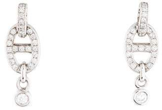 Hermes 18K Diamond Chain d'Ancre Enchainee Earrings