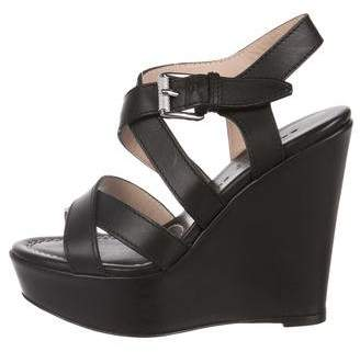 Barbara Bui Leather Wedge Sandals