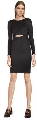 BCBGMAXAZRIA Whitney Faux-Suede Cutout Dress