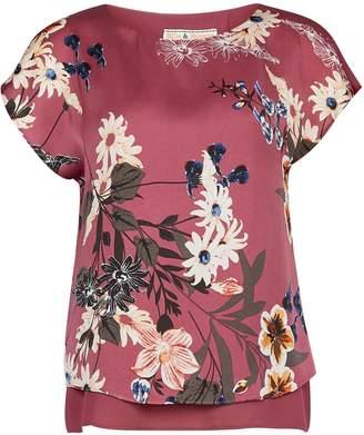 Dorothy Perkins Womens **Billie & Blossom Petite Purple Rose Print Split Back Blouse