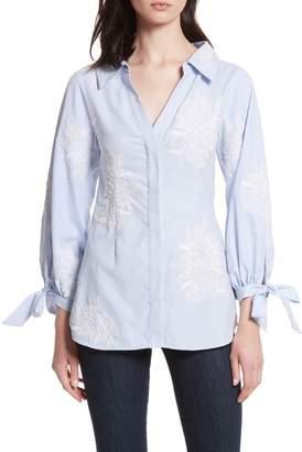 Alice + Olivia Embroidered Tie Sleeve Shirt