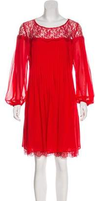 The Kooples Lace-Accented Pleated Dress w/ Tags