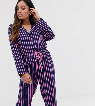 Asos DESIGN Petite shirt & pants pyjama stripe set in 100% modal