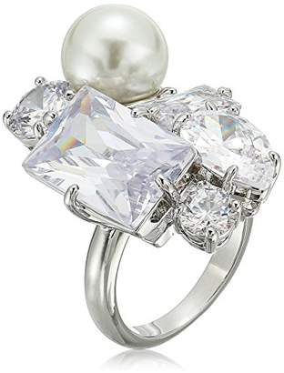 """Betsey Johnson Betsey Blue"""" Cubic Zirconia Stone And Pearl Cluster Cocktail Ring Size 7"""
