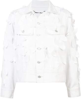 Oscar de la Renta leaf detail denim jacket