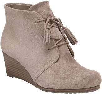 Dr. Scholl's Memory Foam Lace-Up Wedge Booties- Dakota