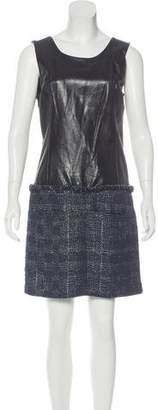 Theyskens' Theory Leather Tweed-Accented Dress