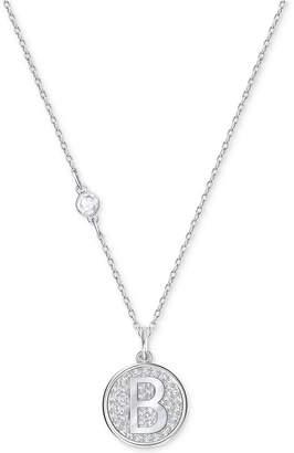 Swarovski Silver-Tone Pave Initial Pendant Necklace
