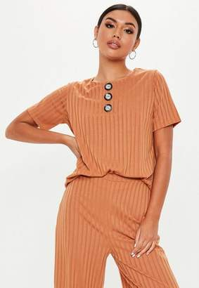 Missguided Rust Co Ord Rib Button Front T-Shirt