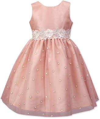 Jayne Copeland Little Girls Floral-Trim Glitter Dot Dress