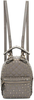 Valentino Grey Garavani Mini Quilted Rockstud Backpack
