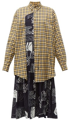 Balenciaga Panelled Silk And Cotton Dress - Womens - Yellow Multi