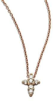 Roberto Coin Women's Tiny Treasures Diamond& 18K Rose Gold Mini Cross Pendant Necklace