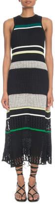 Proenza Schouler Crewneck Sleeveless Striped Open-Stitch Long Dress