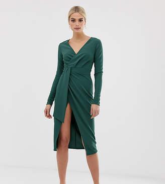 Asos Tall DESIGN Tall long sleeve wrap midi dress with belt detail