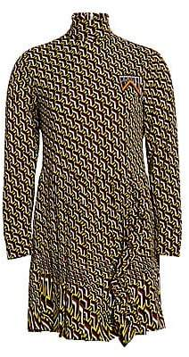 Prada Women's Organzino Turtleneck Mini Dress