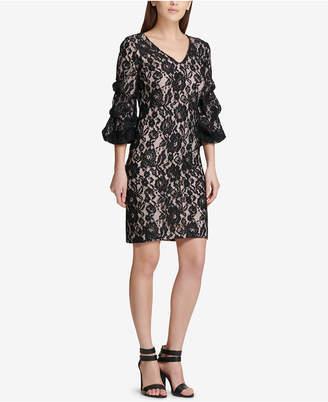 DKNY Ruched-Sleeve Lace Sheath Dress