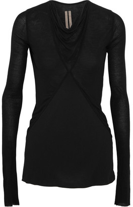 Rick Owens - Paneled Stretch-jersey And Chiffon Top - Black $605 thestylecure.com