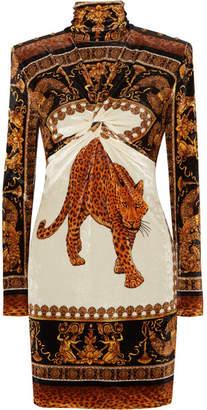 Versace Printed Velvet Turtleneck Mini Dress - Brown