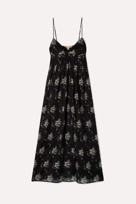 Brock Collection Ornella Floral-print Cotton-voile Midi Dress - Black