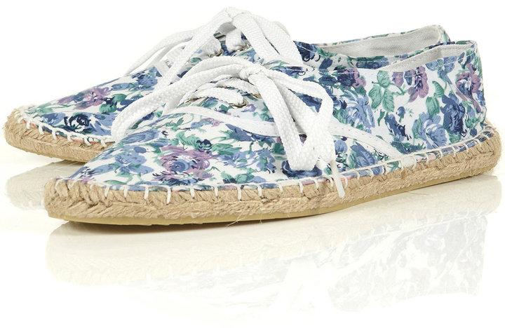 VITAL Multi Floral Laceup Espadrille Sole Shoes