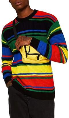 Topman Rainbow Stripe Classic Fit Sweater