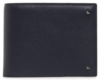 Valentino Stud Leather Money Clip Card Case