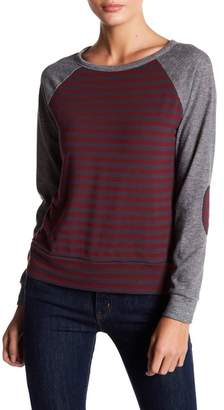Loveappella Elbow Patch Stripe Pullover
