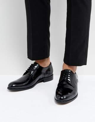 Dune Derby Shoes In Hi Shine Black Leather