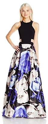 Blondie Nites Junior's Long Ity Top Cutout Sides Print Skirt