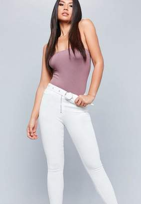 Missguided White High Waisted Circle Buckle Jeans