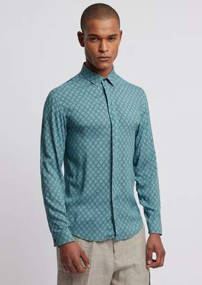 Emporio Armani Shirt In Printed Viscose