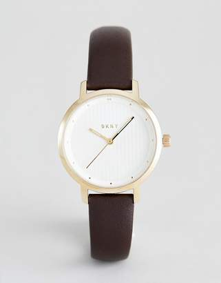 DKNY Modernist Leather Strap Watch in Brown