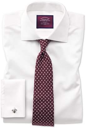 Charles Tyrwhitt Slim Fit Semi-Spread Collar Luxury Cotton Silk Off-White Cotton Silk Dress Shirt Single Cuff Size 16/35