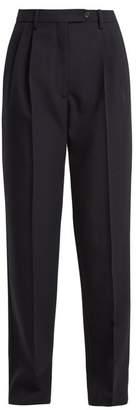 Valentino High Rise Straight Leg Wool Trousers - Womens - Navy