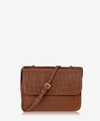 GiGi New York Abbot Crossbody, Brown Embossed Nappa Croco Leather