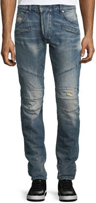 Pierre Balmain Distressed Skinny Moto Jeans
