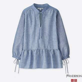 Uniqlo Women's Jwa Linen Cotton Striped 3/4 Sleeve Blouse