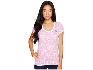 U.S. Polo Assn. Lace Trimmed V-Neck Printed T-Shirt Women's T Shirt