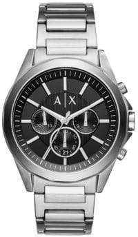 Armani Exchange Chronograph Drexler Stainless Steel Leather Strap Watch