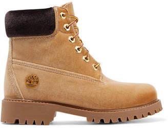 Off-White OffWhite - + Timberland Logo-embossed Velvet Ankle Boots