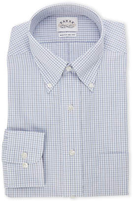 Eagle White & Blue Checkered Regular Fit Dress Shirt