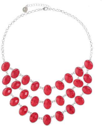 Liz Claiborne Womens Red Oval Statement Necklace
