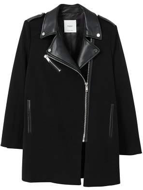 MANGO Contrast lapels coat