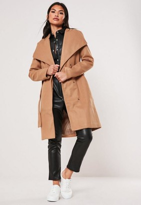 Missguided Camel Belted Wrap Coat