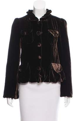 Marc by Marc Jacobs Velour Ruffle Blazer