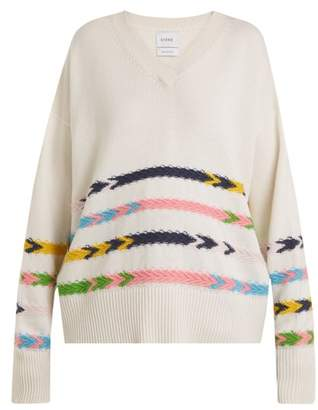 Barrie - Summer Sailor V Neck Cashmere Sweater - Womens - Cream Multi